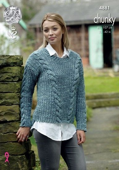 King Cole Bv Tonal Chunky Sweaters Knitting Pattern 4881